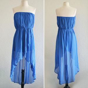 Dresses & Skirts - Blue Strapless High Low Dress Size Medium